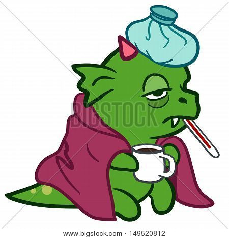 Vector hand drawn cartoon character illustration of a funny fat sick green dragon monster with pink horns sitting with ice pack on head covered with a blanket thermometer in mouth holding a mug.