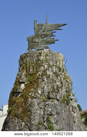 A communist-era war memorial Monument to the Revolution to the dead partisans of World War Two in Virpazar in southern Montenegro.