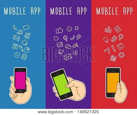 Set of banners with mobile smartphone templates. Vertical banner with hand keeping mobile phone. Banner with mobile phone mockup. Mobile touch screen of phone for banner. Web banner with ballon talk