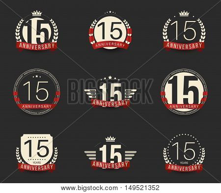 Fifteen years anniversary logotype with branches, ribbons, wings, crowns. 15th anniversary logo collection. Vector illustration.