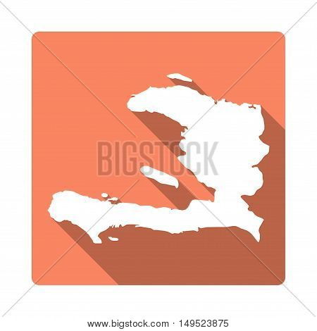 Vector Haiti Map Button. Long Shadow Style Haiti Map Square Icon Isolated On White Background. Flat