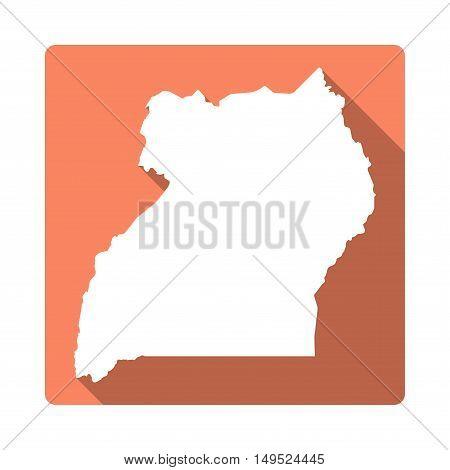 Vector Uganda Map Button. Long Shadow Style Uganda Map Square Icon Isolated On White Background. Fla