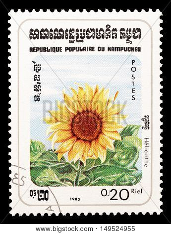CAMBODIA - CIRCA 1983 : Cancelled postage stamp printed by Cambodia, that shows Sun flower.