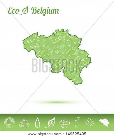 Belgium Eco Map Filled With Green Pattern. Green Counrty Map With Ecology Concept Design Elements. V