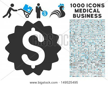 Financial Reward Seal icon with 1000 medical commercial gray and blue glyph pictographs. Collection style is flat bicolor symbols white background.