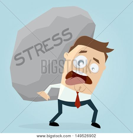 clipart of businessman carrying a big stress rock