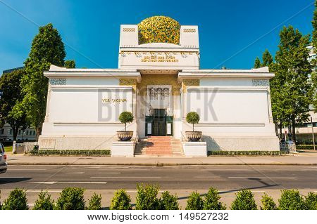 The Secession Building, Wiener Secessionsgebaude - exhibition hall built in 1897 by Joseph Maria Olbrich as architectural manifesto for Vienna Secession. Vienna, Austria. Beautiful travel photo.