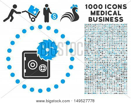 Hacking Theft icon with 1000 medical commerce gray and blue glyph design elements. Clipart style is flat bicolor symbols white background.
