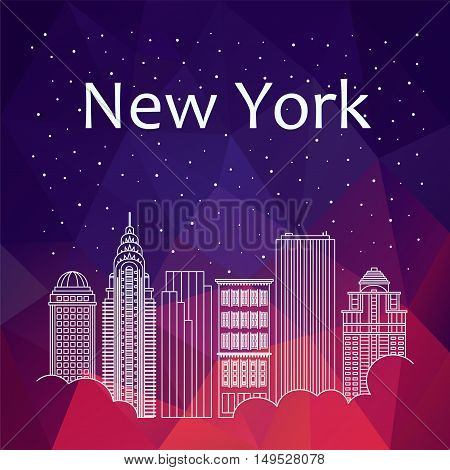 New York for banner poster illustration game background. Vector background New York - snow is falling. Night life of New York. Hackathon workshop training in New York. Holiday in New York