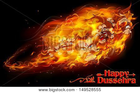illustration of Raavan Dahan for Dusshera celebration Navratri festival of India poster