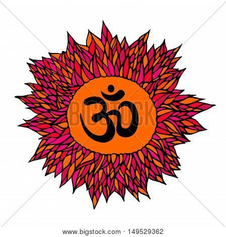 om symbol aum sign with decorative indian ornament mandala isolated on white background. vector illustration