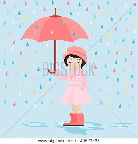 Cute little girl under the rain wearing a pink dress holding an umbrella.