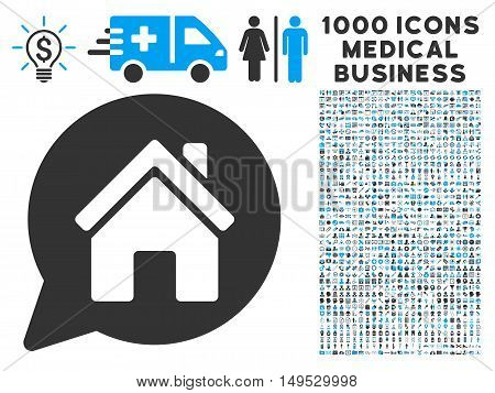 House Mention icon with 1000 medical commercial gray and blue glyph design elements. Design style is flat bicolor symbols white background.
