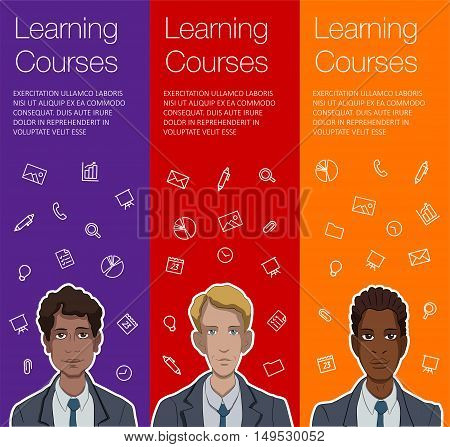 Vector colorful banner with business man. Set of vertical banner for advertisement. Vector office man talking. Banner for presentation product service startup. Web banner with ballon talk