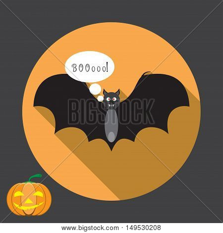 Vector isolated icon of black bat that says BOOoo! with shadow for Halloween.