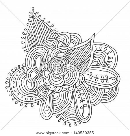 Black and white abstract pattern with leaves and flowers. Doodle. Hand drawn zentagles. Coloring book.
