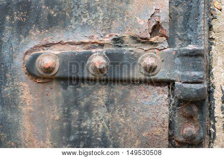 Closeup Of Rusted Door Or Gate Hinge