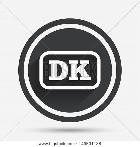 Denmark language sign icon. DK translation symbol with frame. Circle flat button with shadow and border. Vector