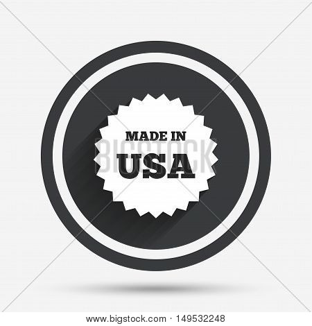 Made in the USA icon. Export production symbol. Product created in America sign. Circle flat button with shadow and border. Vector