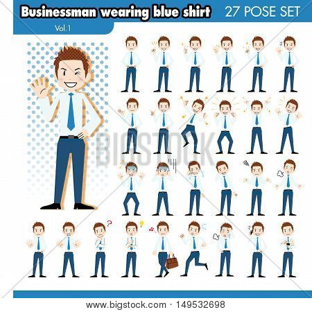set of various poses of Businessman in blue shirt