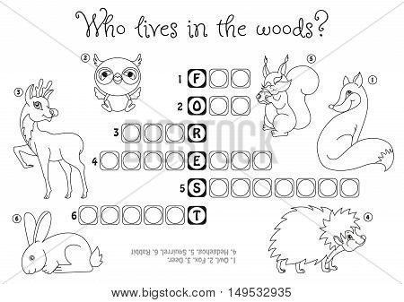 Children's crossword Who lives in the forest