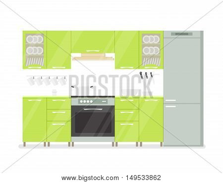 Modern interior kitchen room in green tones. Isolated on white background cartoon illustration