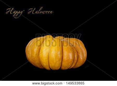 Big Single Pumpkin  isolated on black background