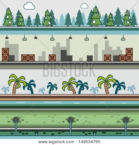Parallax backgrounds for video games set 3