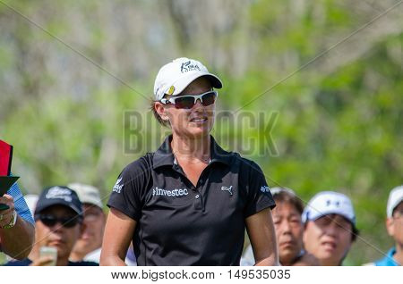 CHONBURI - FEBRUARY 28 : Lee-Anne Pace of South Africa in Honda LPGA Thailand 2016 at Siam Country Club Pattaya Old Course on February 28 2016 in Chonburi Thailand.