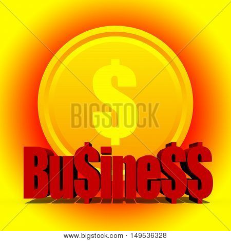 Profitable business concept with lucky golden dollar