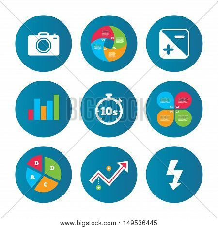 Business pie chart. Growth curve. Presentation buttons. Photo camera icon. Flash light and exposure symbols. Stopwatch timer 10 seconds sign. Data analysis. Vector