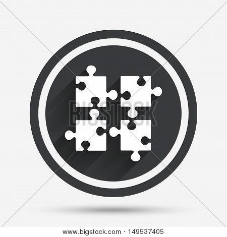 Puzzles pieces sign icon. Strategy symbol. Ingenuity test game. Circle flat button with shadow and border. Vector