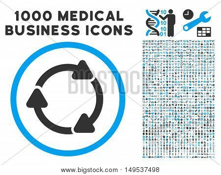 Rotate CW icon with 1000 medical commercial gray and blue glyph pictograms. Collection style is flat bicolor symbols, white background.