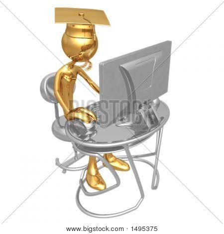 Golden Grad Online Education Graduation Concept