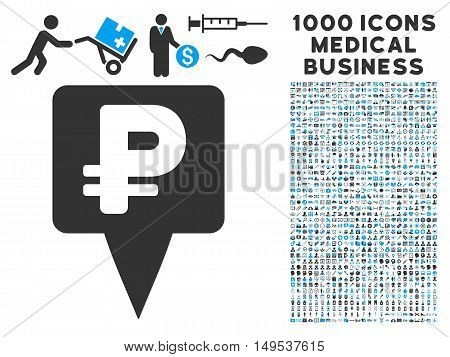 Rouble Map Pointer icon with 1000 medical business gray and blue glyph design elements. Design style is flat bicolor symbols, white background.