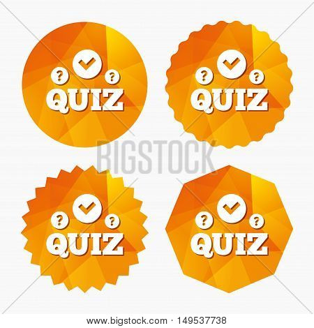 Quiz with check and question marks sign icon. Questions and answers game symbol. Triangular low poly buttons with flat icon. Vector