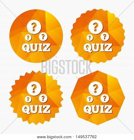 Quiz with question marks sign icon. Questions and answers game symbol. Triangular low poly buttons with flat icon. Vector