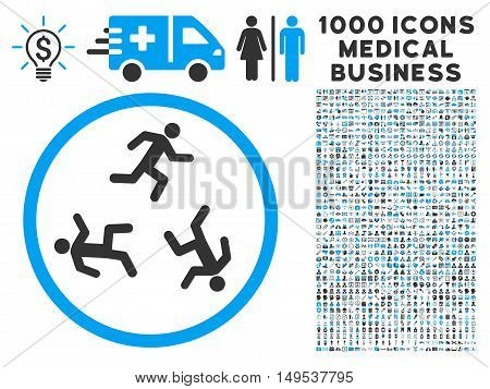 Running Men icon with 1000 medical business gray and blue glyph pictograms. Design style is flat bicolor symbols, white background.
