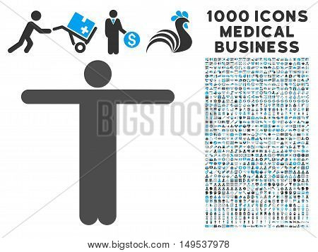 Scarecrow Pose icon with 1000 medical commercial gray and blue glyph design elements. Collection style is flat bicolor symbols, white background.