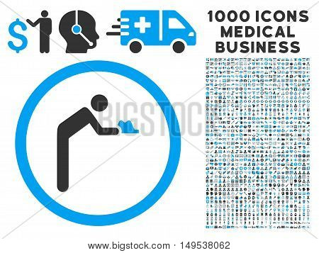 Servant icon with 1000 medical commercial gray and blue glyph pictograms. Clipart style is flat bicolor symbols, white background.