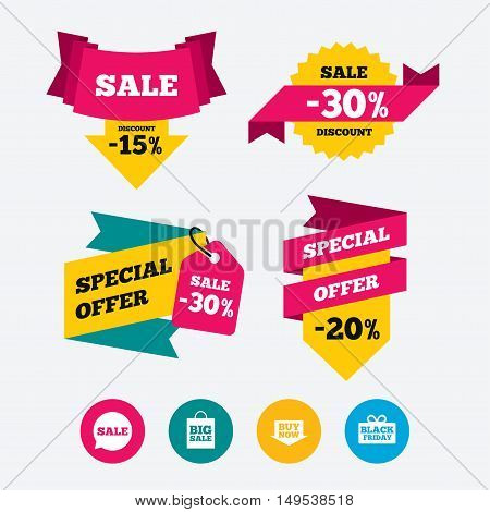 Sale speech bubble icons. Buy now arrow symbols. Black friday gift box signs. Big sale shopping bag. Web stickers, banners and labels. Sale discount tags. Special offer signs. Vector