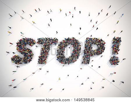 3D Rendering crowd of people united forming the word stop
