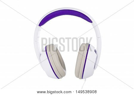 White and purple padded headphones front view isolated on white background