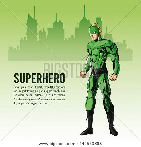 Superhero man cartoon with uniform icon. Comic power costume and hero theme. Colorful design. City silhouette background. Vector illustration