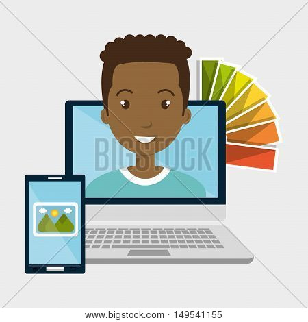 man computer smartphone chart color vector illustration eps 10