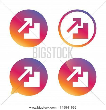 Upstairs icon. Up arrow sign. Gradient buttons with flat icon. Speech bubble sign. Vector