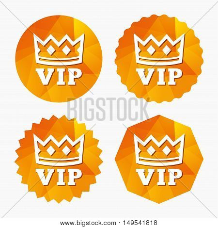 Vip sign icon. Membership symbol. Very important person. Triangular low poly buttons with flat icon. Vector