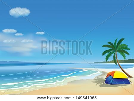 Camping tent for two on the beautiful beach