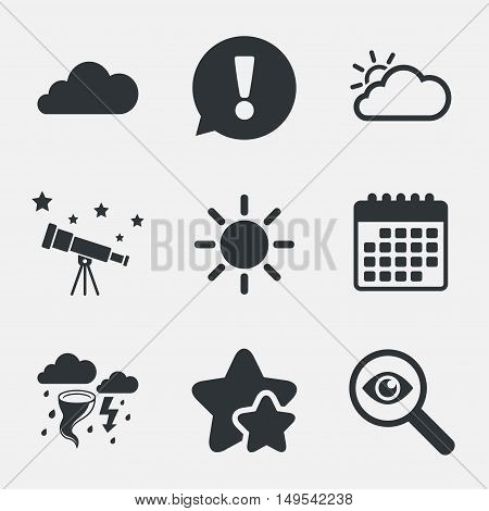 Weather icons. Cloud and sun signs. Storm or thunderstorm with lightning symbol. Gale hurricane. Attention, investigate and stars icons. Telescope and calendar signs. Vector