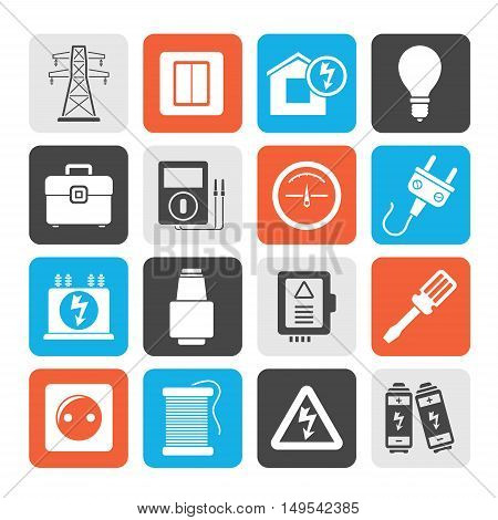 Silhouette Power, energy and electricity icons - vector icon set poster